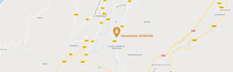 Géolocalisation Cheminées Durand
